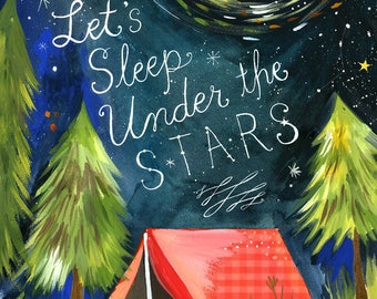 Sleep Under the Stars - various sizes - STRETCHED CANVAS - Katie Daisy art