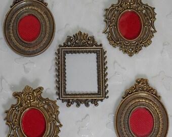 Antique Brass Miniature Frames Italy Set of Five