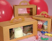 Set of 10 Kraft Carry Gable Pastry Boxes with Clear Window - Wedding Favor Gift - Cupcakes Bridesmaids Party
