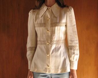 1970s CROCHET LACE PANEL jacket, s - m