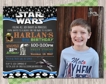 Star Wars Invitation, Star Wars Birthday Invitation with photo, Star Wars Invite, Star Wars Birthday Invite