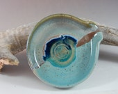 Pottery Spoon Rest - Turquoise And Smoky Mountain Mist - Glass Infused, Handmade - Ceramic Spoon Rest