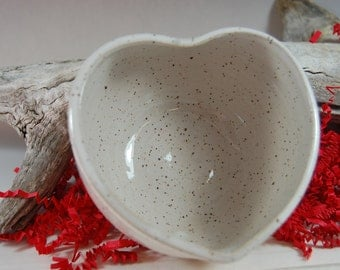 Pottery Heart Bowl - Handmade, small bowl, prep bowl