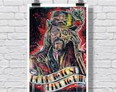 "Art Print  Poster 12 x 18"" - Lemmy Kilmister - Motorhead music rock and roll drugs tattoo line art ink black and white"