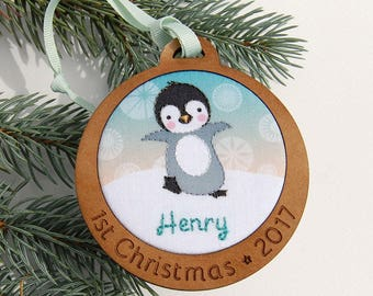 Baby's First Christmas Ornament Personalized Hand Embroidered Penguin Custom Holiday Keepsake 2017