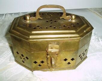 Vintage Brass Cricket Box,  Octogon Shape Pierced Trinket Box / Keepsake Box, Brass Potpourri Holder Container, Decorative Brass Box