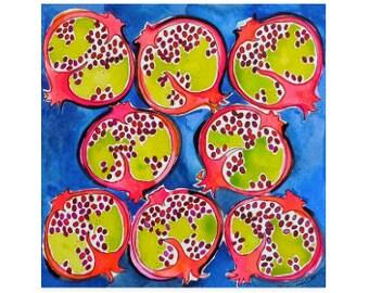 Pomegranate Print-Pomegranate Watercolor-Art Print-Wall Art-Home Decor-Fruit Print-Giclee-Kitchen Art-Pomegranate Painting-Fruit Wall Art
