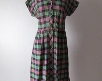 Sale - 30% - Vintage 1950s Plaid Cotton Dress - 50s Dress - Black Purple Green
