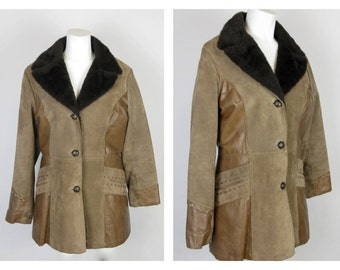 Vintage 1970s Western Cowgirl Suede / Leather Ms Pioneer Womens Coat, Sz M