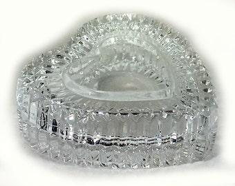 Vintage Faceted Crystal Heart Shaped Trinket Box