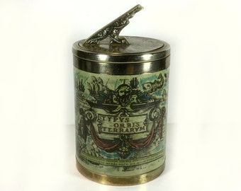 Vintage Ice Bucket - Shiny Chrome Rims/Lid, and Old-World Map Sides
