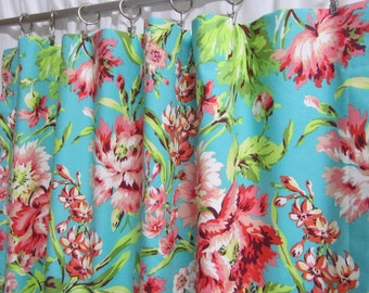 """Teal Window Curtains, Cottage Floral Bedroom Curtains, Coral Floral Curtains, Amy Butler Curtains, One Pair, Rod-Pocket Curtains 38""""W"""