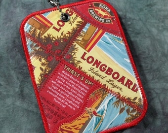 Luggage Tag from Recycled Kona Brewing Co Longboard Lager Beer Labels