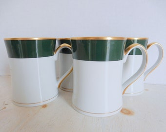 RARE Set of 4 Fitz And Floyd Renaissance China Coffee Tea Mugs White With Dark Green and Gold