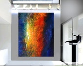 HUGE MODERN original abstract oil painting palette knife contemporary wall art Title:Cosmic Nights by artist Carol Lee art aka Leearte