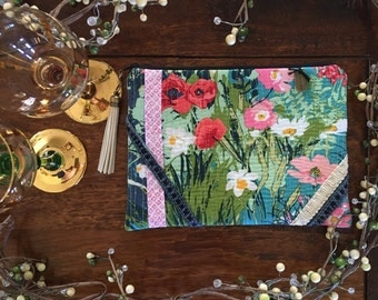 Lavish Floral & Denim Clutch