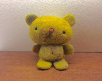Needle Felted One of a Kind cashmere and camel hair Sad Teddy Bear