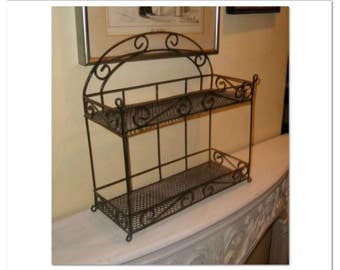 Vintage Wire Mesh SHELF Metal Mid Century 2 Shelves Hang Hanging Stand Standing Curio Home Decor Furniture Accent Iron