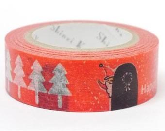 210597 red with Christmas tree Santa Washi Masking Tape deco tape Shinzi Katoh