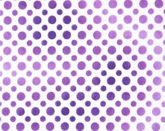 213852 white fabric cute purple light purple and dark purple dot Quilting Treasures