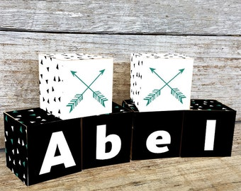 Black Arrows Wooden Letter Blocks, Personalized Nursery Blocks Baby Decor Gift