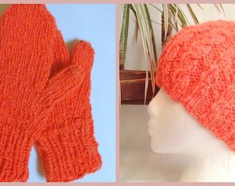 Winter Hat. Matching Mittens. Handspun Hat. Merino Wool. Hand Knit. Begonia. Deep Coral. Soft Orange. Handspun Yarn.Knit Cap. Ready to Ship.