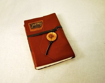 """Large Leather """"Journey"""" Journal with Handmade Paper"""