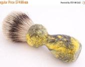 ON SALE Yellow and Black Box Elder Burl Wood 24mm Silvertip Badger Shaving Brush (Handmade in USA) Y1  Wood Shaving Brush - Gift for Him - S