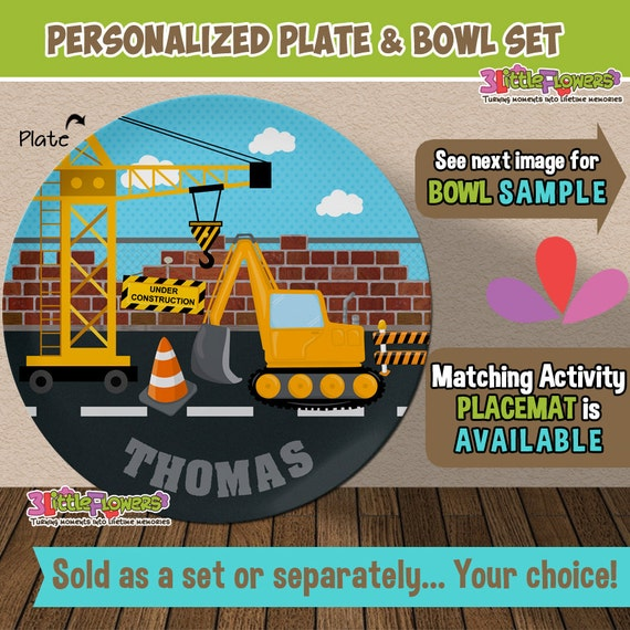 Il_570xn  sc 1 st  Catch My Party & Personalized Digger Truck Plate and Bowl Set - Personalized Plastic ...