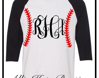 Baseball Softball Stitches Monogram 3/4 sleeve raglan