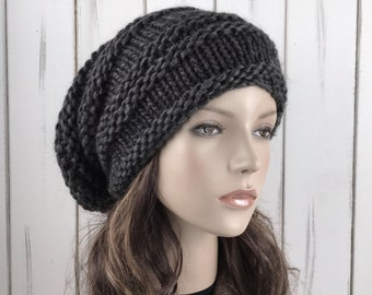 Hand knit hat woman man wool hat  Oversized charcoal Chunky hat Slouchy hat-ready to ship