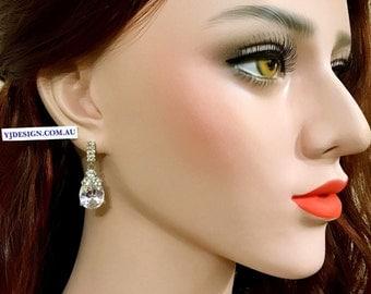 Teardrop Bridal Earrings, Cubic Zirconia Wedding Earrings, Cz Drop Earrings, Wedding Jewelry, Crystal Earrings, Gift for Her, PRISTINE