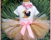 Safari  Minnie with Number, Party Outfit, Theme Parties, Disney Vacations  in Sizes 1yr -4yrs