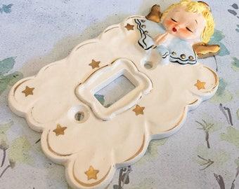 Celestial Angel Baby Light Switch Plate Cover Yona Original Vintage Nursery 1950s Japan Boy Blue Ceramic