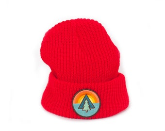 Red beanie with Tree Patch