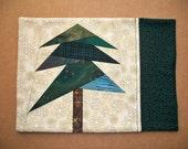 Pine Tree, Fabric Mug Rug, Snack Mat, Candle Mat, Green & Gold Mug Rug