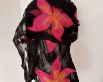 Nuno felted Merino Silk scarf wrap by plumfish black and bright pink silk merino scarf