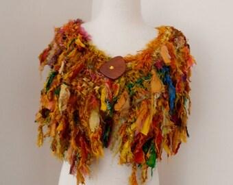 autumn woodland sunset shades of gold orange amber Recycled silk hand knitted boho tattered rag scarf