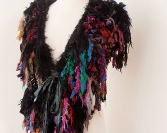 scarf wrap, black and brights, Recycled silk, hand knitted, boho tattered rag scarf
