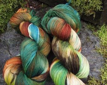 Handpainted sock yarn, fingerling yarn, Superwash Merino  Nylon, 100 grams-Euphrosyne
