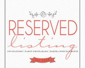 Reserved listing for Gina M