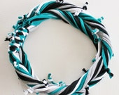T Shirt Scarf - Infinity Circle Scarves Recycled Cotton - Teal Green White Black Gray Grey Silver Ovarian Cervical Cancer Casual Necklace
