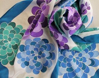 Hand Painted Silk Scarf - Handpainted Scarves Navy Blue Sapphire Light Teal Green Purple Eggplant Lavender White Flowers Hydrangeas Floral