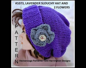 KNITTING PATTERNS, Knit hat pattern, Easy beginner flat knit hat knitting pattern for beginners, #1073