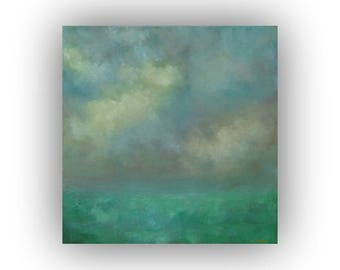 Abstract Landscape Oil Painting- Field Sky and Clouds Painting- 20 x 20 Blue and Green Art on Canvas- Original Palette Knife Painting