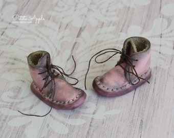 Worn Pink -Real Leather boots/shoes for Blythe dolls and 1/6 BJD dolls