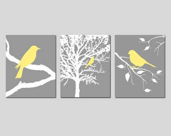 Bird Wall Art Nature Wall Art Bird Decor Set of 3 Bird Pictures Bird Bedroom Decor Bird in Tree, Bird on Branch - CHOOSE YOUR COLORS