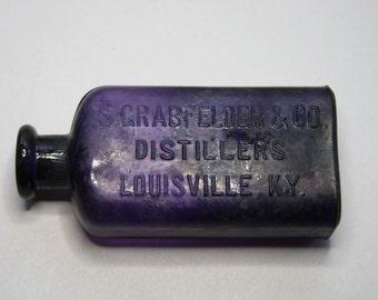 Vintage Purple Bottle-Antique Distillers- Whiskey Bottle- Louisville Kentucky- Crabfelder & Co.- D69