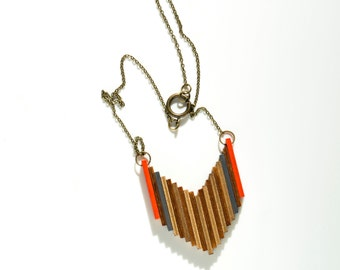 Tatanka Wooden Tribal Necklace in Orange, Gray, Gold and Natural brown