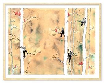 Russian Nesting Doll, Birch Forest, Birch Wall Art, Funny Dorm Wall Art, Whimsical Art, Watercolor Print, Dorm Decor, Matryoshka, 11x14